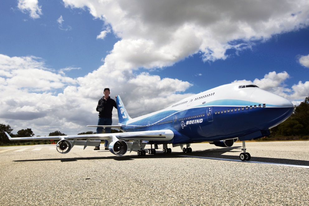 Andrew Herzfeld with the Boeing 747 model aircraft he has built. The maiden flight will take place at a full size airfield in Wagin or Wyalkatchem in early November. Picture: Bruce Hunt