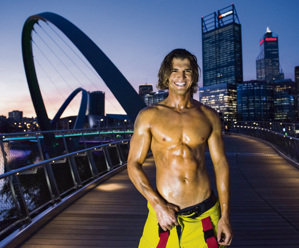 Trigg firefighter Luke Robins features in the 2018 Perth Firefighters Calendar.