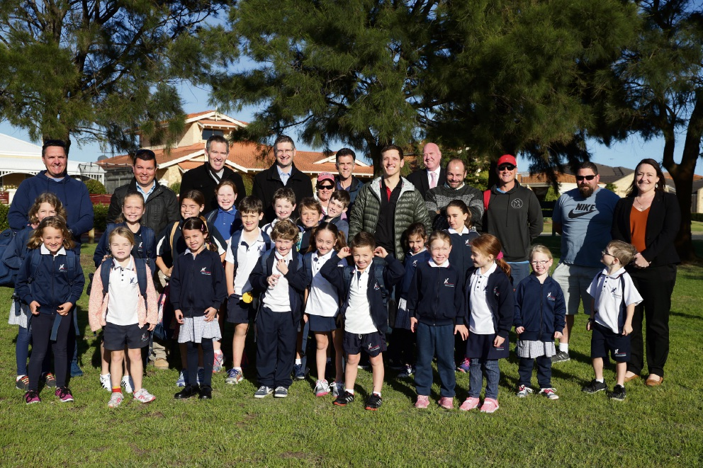 Currambine PS dads join kids on walk to school as part of The Fathering Project