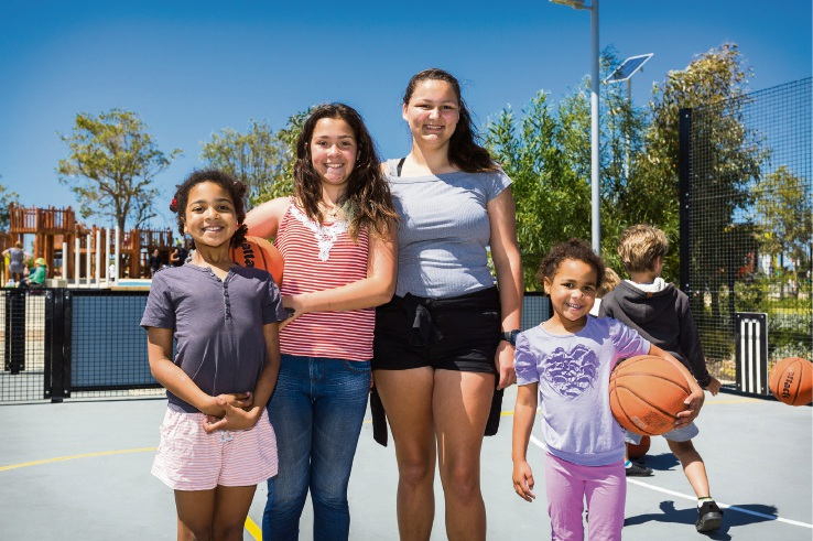 Anares Chisakula (8), Olivia McMillan (12), Teisha Martin (12) and Madeleine Chisakula (6).