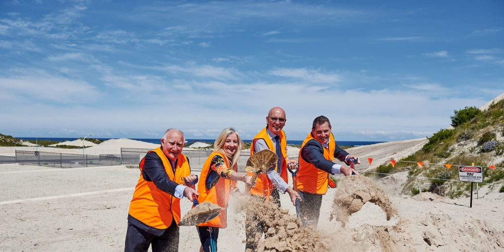 Eglinton Estates director Ross Ledger, Wanneroo Mayor Tracey Roberts, Butler MLA John Quigley and Stockland's Col Dutton.