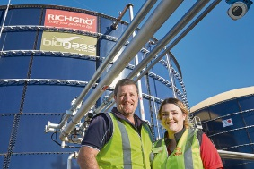 Richgro operations manager Tim Richards with Coles employee Cheyenne Baken.