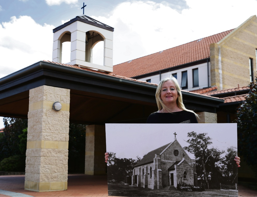 Wanneroo Mayor Tracey Roberts with a picture of Saint Anthony Church. Picture: Martin Kennealey d475253