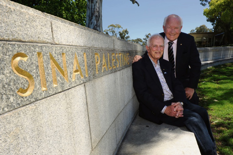 Friends of Israel WA chair Kevin Campbell (back) and secretary Phillip Samuell are marking the 100th anniversary of the World War I Battle of Beersheba next Tuesday. Picture: Jon Bassett