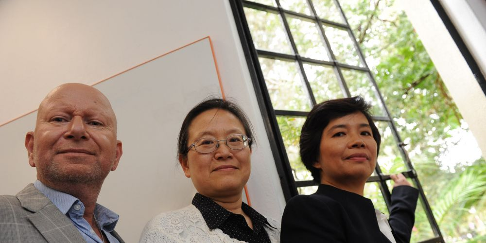 University of WA physics professors (l-r) Davis Coward, Li Ju and Linqing Wen say recording the neutron stars' collision has opened a new window to understanding the universe. Picture: Jon Bassett