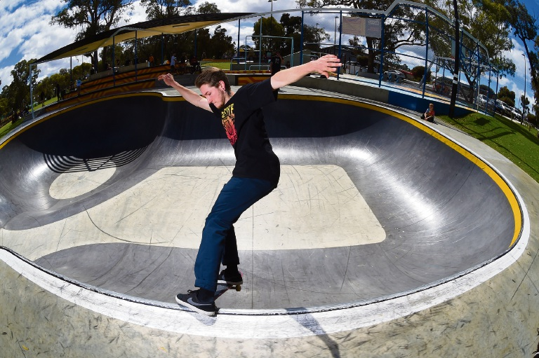 Jayson Turner at Kwinana's Edge skatepark. Picture: Jon Hewson www.communitypix.com.au d474628