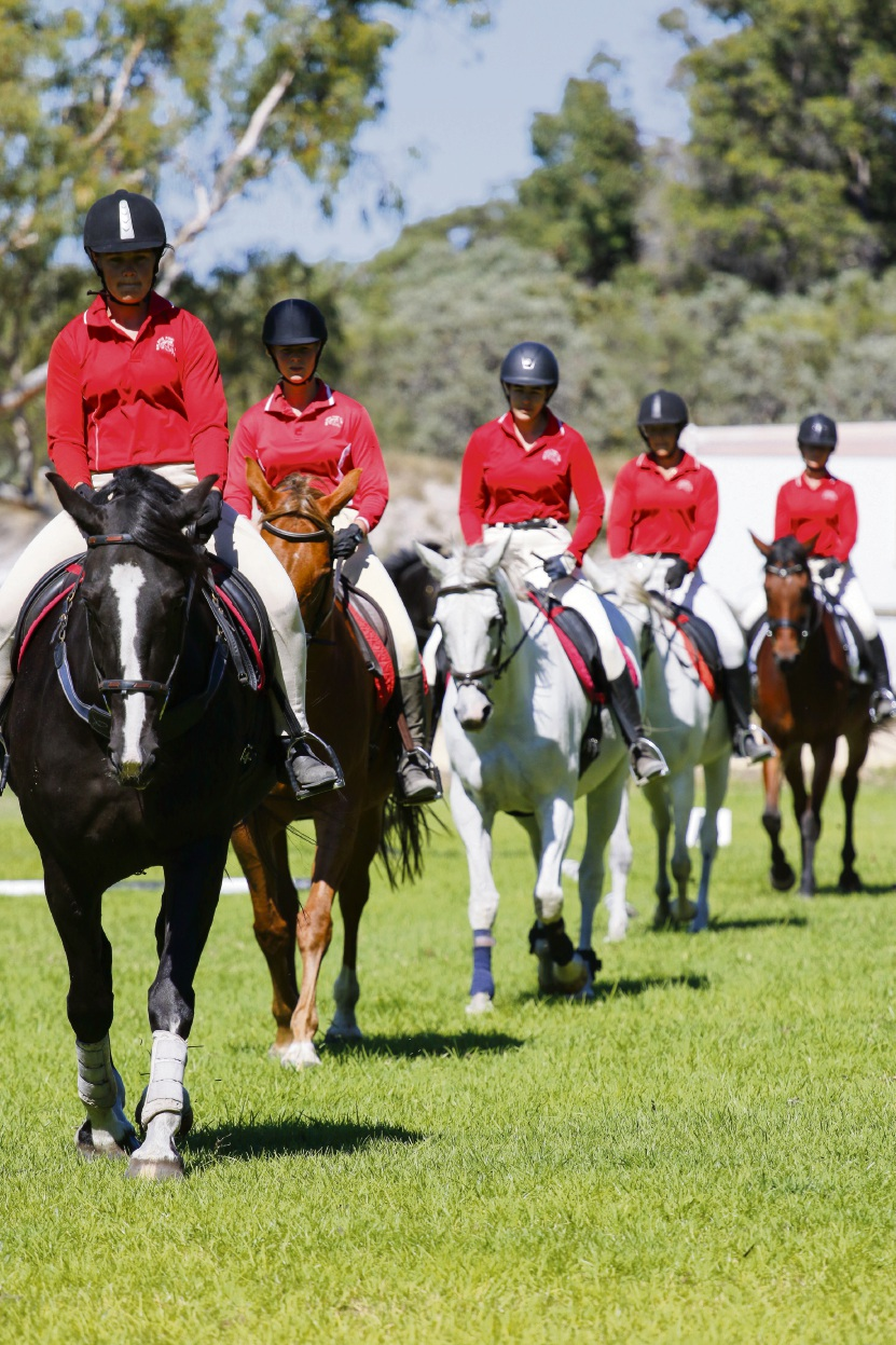 Baldivis Equestrian and Pony Club riders under instruction at a monthly rally.