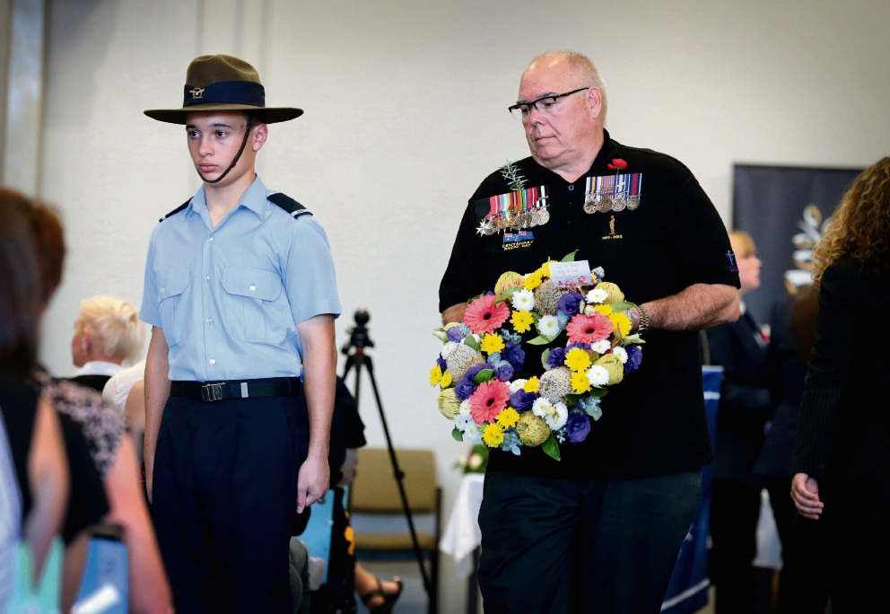 David Lucas laying a wreath at this year's Ellenbrook Secondary College Anzac service. Cr Lucas is the new mayor of the City of Swan. Picture: David Baylis