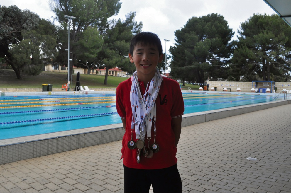 Tristan Lin won a haul of medals at the Swimming WA Junior Short Course Championships.