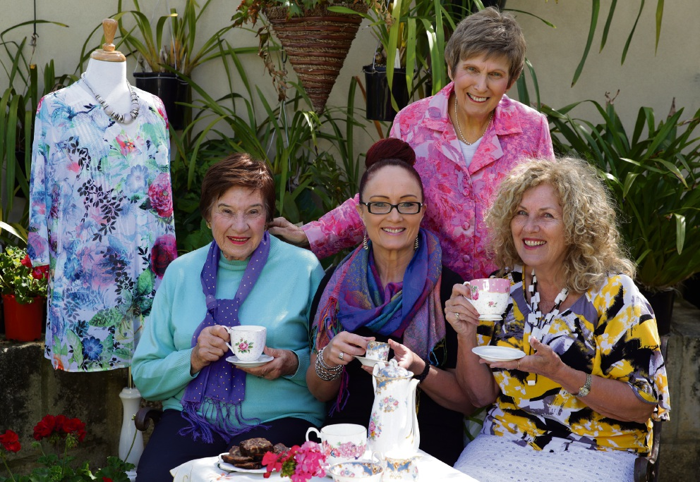 Dorothy Davidson, Lisa Thomas, Mary Easterbrook and Christine Churchman raise their cups to a good cause. Picture: Martin Kennealey www.communitypix.com.au   d475183