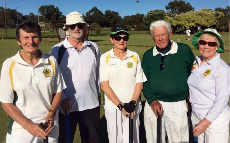 Bev Orsmond, Peter Ross, Kath Caris, David Smeeton and Sheila Twine at the Bunbury tournament.
