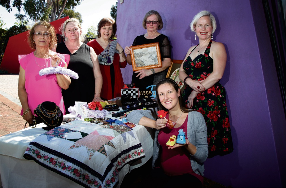 Looking forward to the Your Art, Craft and Hobby Show are Patsy Evans, Stephanie Lukaras, Teresa Calandro, Grosia Caccioppola, Rosa Bervicato (sitting front) and Melanie Dunstan. Picture: Marie Nirme www.communitypix.com.au d475196