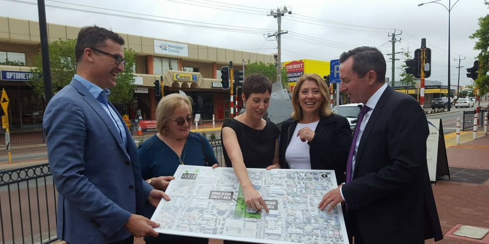 Perth MLA John Carey, North Perth resident Ida Smithwick, City of Vincent Mayor Emma Cole, Palnning Minister Rita Saffioti and WA Premier Mark McGowan.