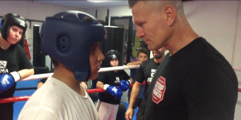 Taekwondo Red Belt Arman Ghasemi (12) with four-time Boxing World Champion Danny Green.