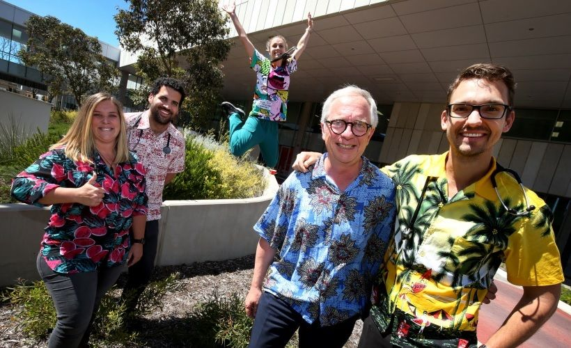 Loud Shirt Friday at Fiona Stanley Hospital - Zoe Nicholson, Jonathan Alexis, Emily Harding, Greg Sweetman and Claus Bloecker. Picture Matt Jelonek d475229