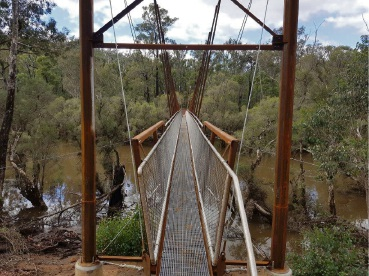 The new suspension bridge that replaces Long Gulley Bridge.