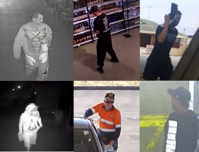 Police would like to speak to these people in relation to incidents throughout Mandurah in recent weeks.