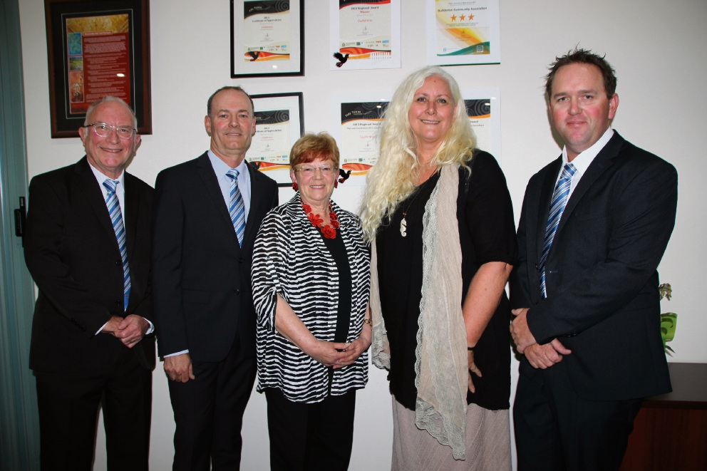 JP Margaret Greenwell (centre) with newly elected councillors Frank Johnson, Kim Rule, Jacqui Lobb and James Morton.