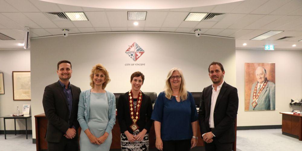 Councillors Jonathan Hallett, Joanne Maree Fotakis, mayor Emma Cole, Alex Castle and Joshua Topelberg.