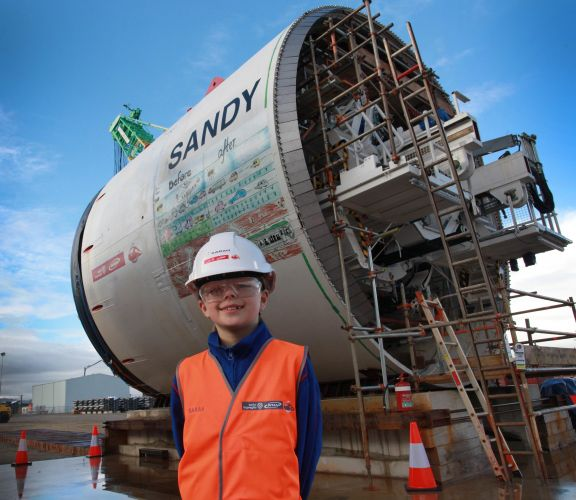 Sarah Spratt with tunnel-boring machine Sandy.