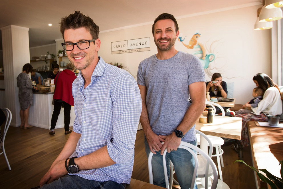 Paper Avenue Cafe owners John Konstantopoulos, with business partner Justin Patterson. Picture: Will Russell d473972