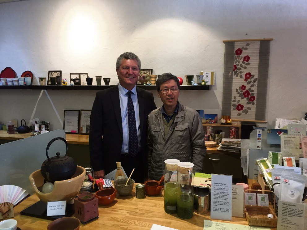 WA Small Business Commissioner David Eaton with Green Tea House owner Tsutomu Iwasaki.