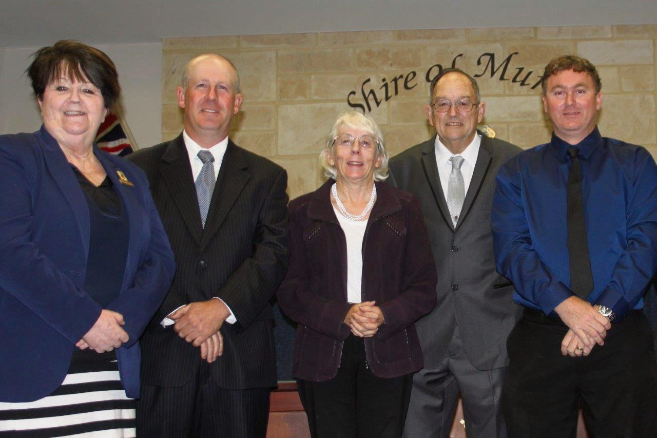 Cr Maree Reid and new councillors Douglas McLarty, Brenda Beacham, Geoff Black and Brad Cardilini.