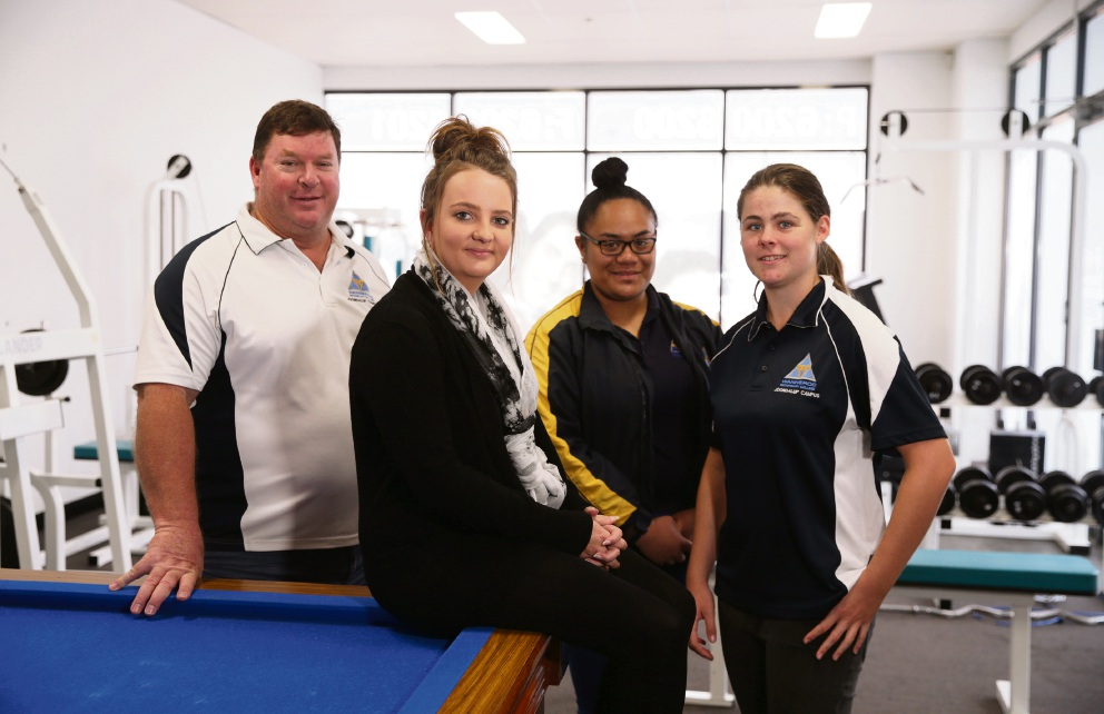 Chris Leggett (manager and vet coordinator), former student Casey Kennedy (Carramar) and current students Lepeta Jackson and Mikayla Edwards both Year 11. Picture: Martin Kennealey