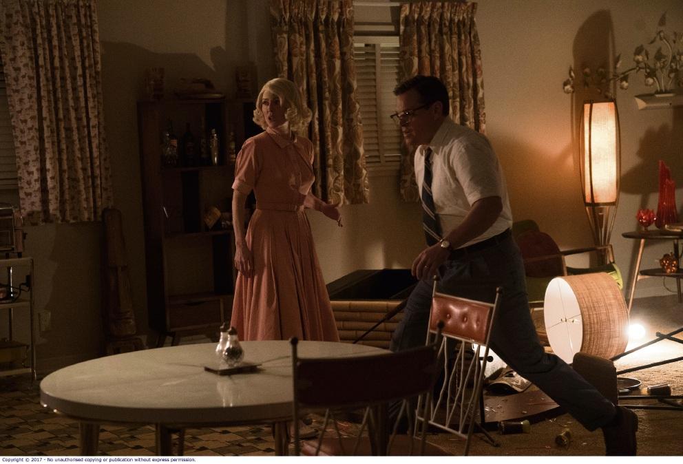 Julianne Moore and Matt Damon in Suburbicon.