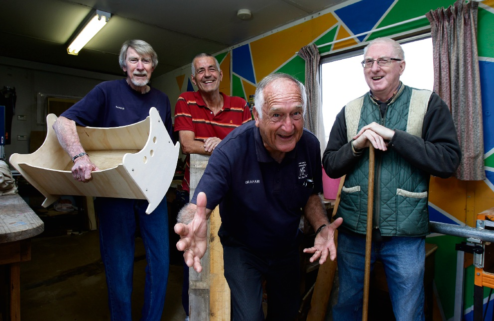 Graham Sampson (centre) with friends Barrie Spencer, Peter Davies and Tom White at the Armadale Community Men's Shed. Picture: Marie Nirme www.communitypix.com.au d475455