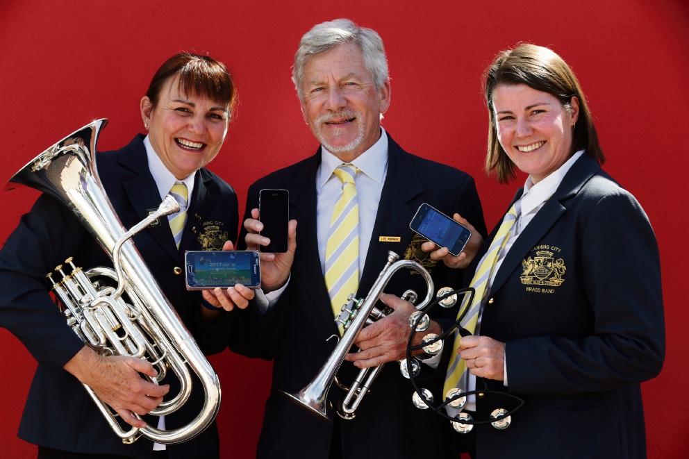 Canning City Brass Band members Helen Junk, Victor Moss and Helen Grimm. www.communitypix.com.au   d475288