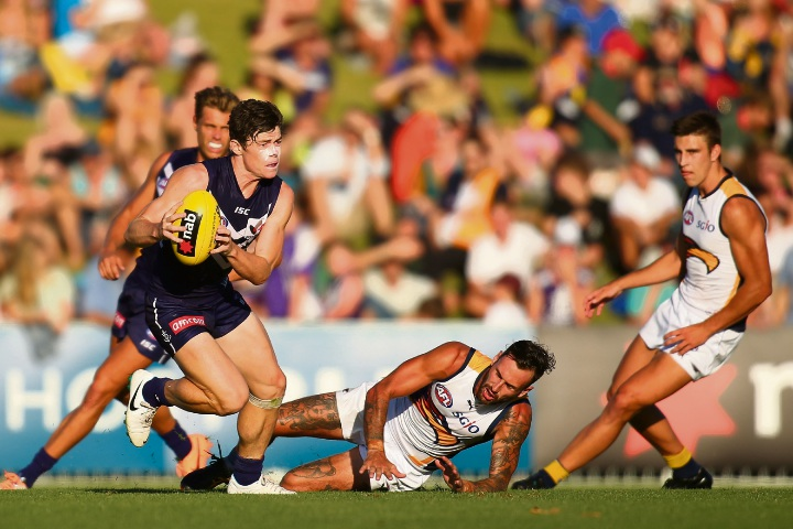 Lachie Neale takes possession in the last derby clash held at Arena Joondalup. Picture: Getty Images