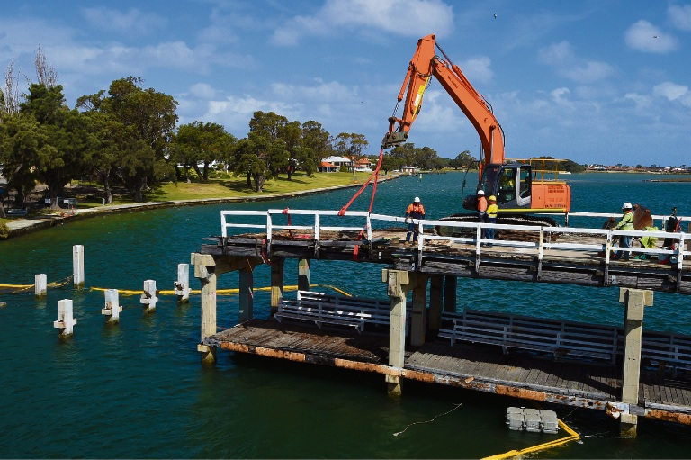 Demolition of Mandurah's old traffic bridge in progress. Picture: Jon Hewson d475584