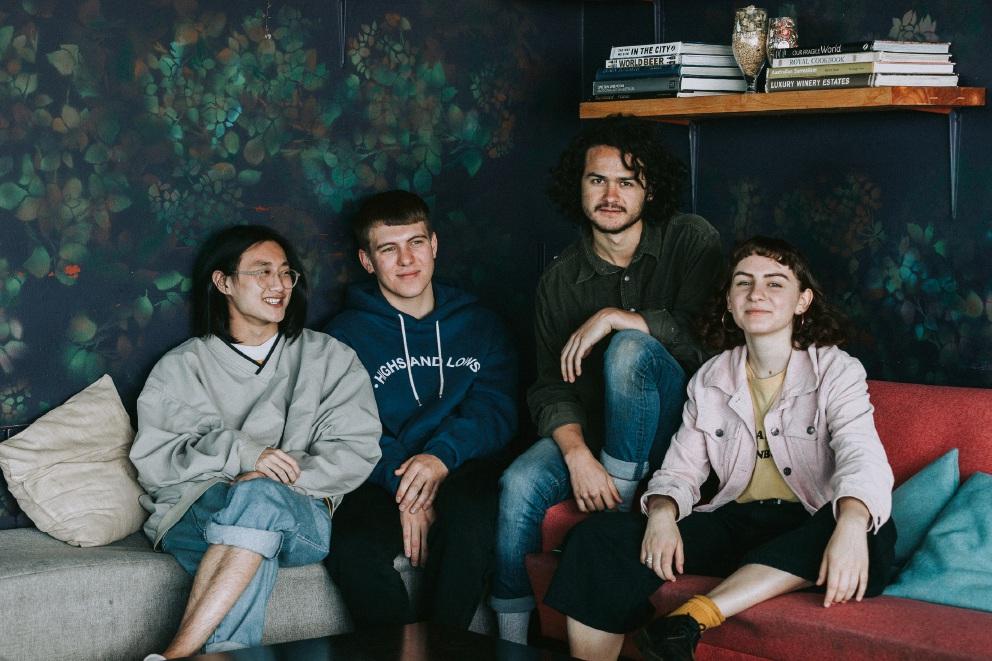 Josh Chan with Demon Days bandmates Mark Ashforth, Marley Donnan and Bella Nicholls.