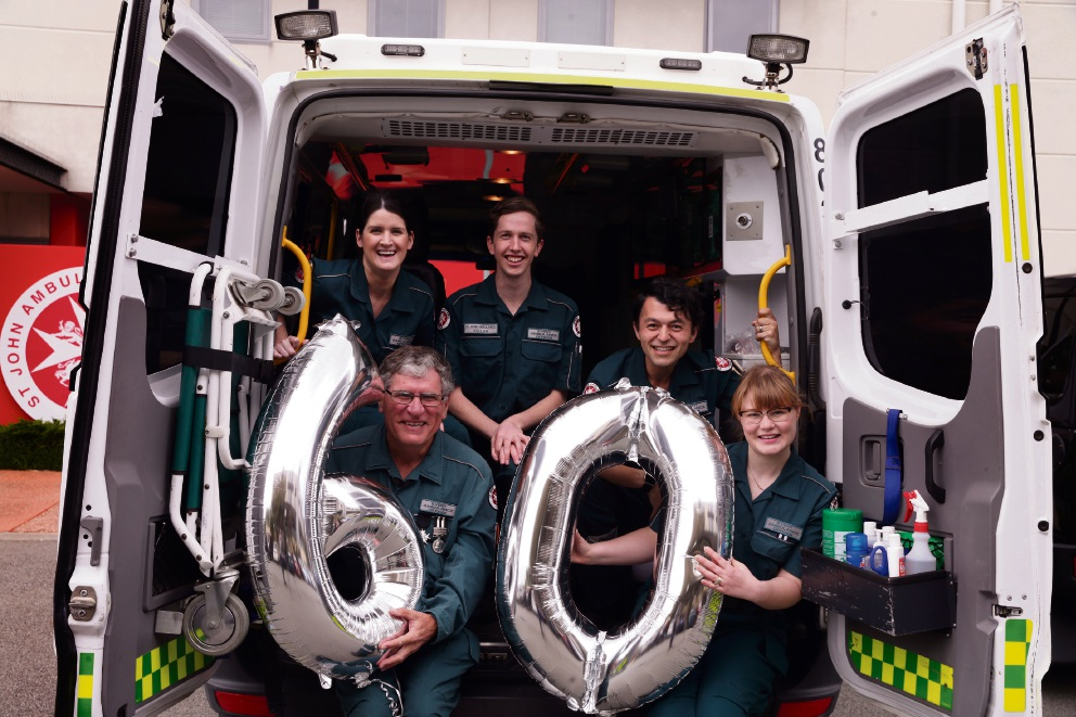 Event ambulance officers Leana Walter, Alan Hughes, Kellan Blenkinsop, Paul Clune and Katie Clune. Picture: Martin Kennealey d475622