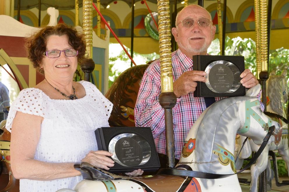 WA Seniors Award metropolitan winner Phillip Paddon, of Greenwood, and regional winner Lesley Balinski.