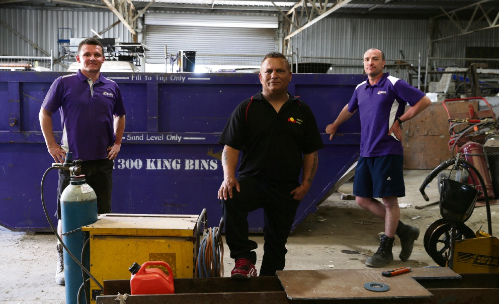 King Bins staff, Peter Musulin, Merv Eades (Ngalla Maya) and Aaron Baker. Picture: Martin Kennealey d474986
