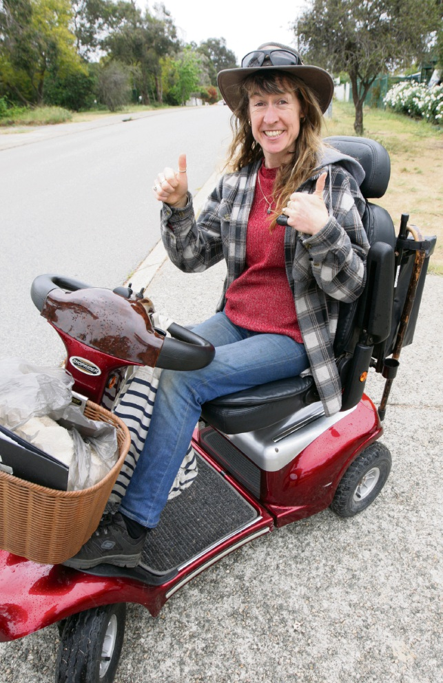 Nina Radamanthos is happy to be mobile  and riding a gopher again. Picture: Bruce Hunt    d475504