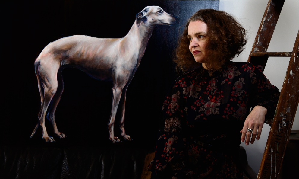Fremantle artist Emma Margetts with the piece Ghost Dog II from her upcoming show, The Savage Garden. Picture: Marie Nirme www.communitypix.com.au   d475213