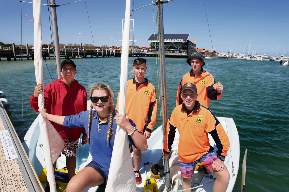 Cadets Leut Clare McCaskie, Alannah Brown, Louis Hourston, Oliver Tickell and Isaac Chambers. Picture: Martin Kennealey www.communitypix.com.au   d474584
