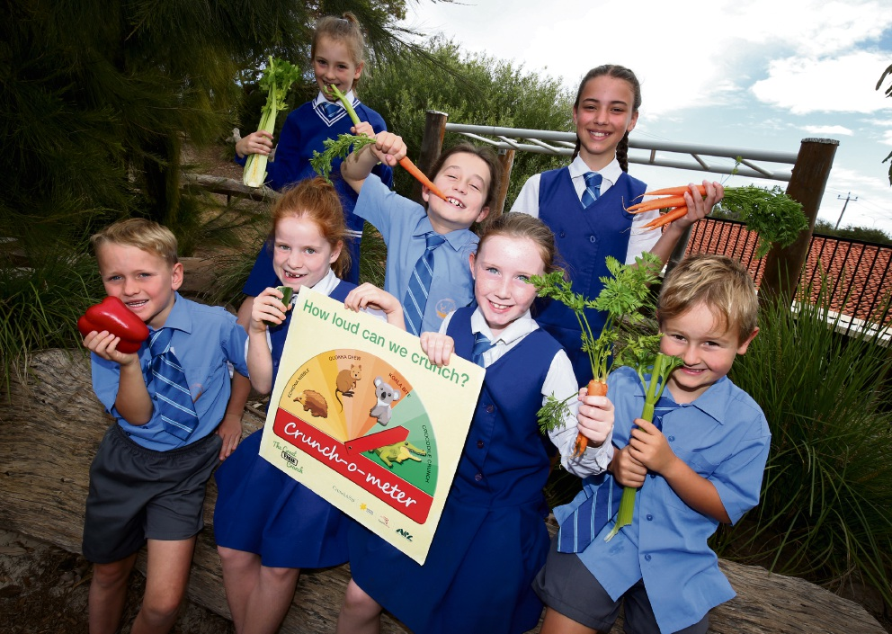 Whitford Catholic Primary students Zachary, Ella, Siofra and Henry with (back) Holly, Kirby and Sienna. Picture: Matt Jelonek d473645