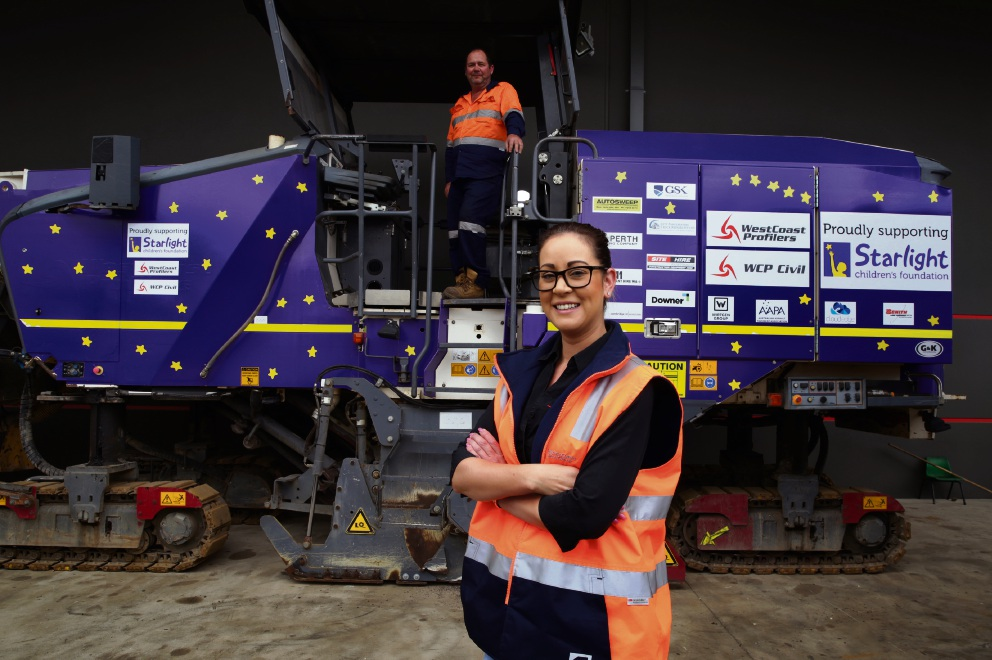 Foreman Mark Merchant and Natalie James with the Purple Profiler Machine. Picture: Martin Kennealey d475404