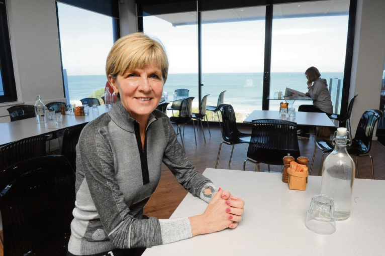 Acting-Prime Minister Julie Bishop at the Blue Duck Caf in North Cottesloe this morning.  Picture: Jon Bassett