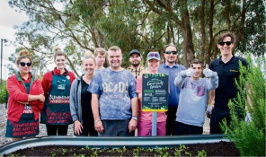 Bunnings team members Brian and Annalise, Intelife skills trainer Emma-Lee Beer, Brodie Wood, Shane McQueen,  Intelife skills trainer Robert Stuiber, Izaak Redmond, Intelife area services manager Scott McKenzie, Matthew Vidot and Landcorp's Jason Vivian.