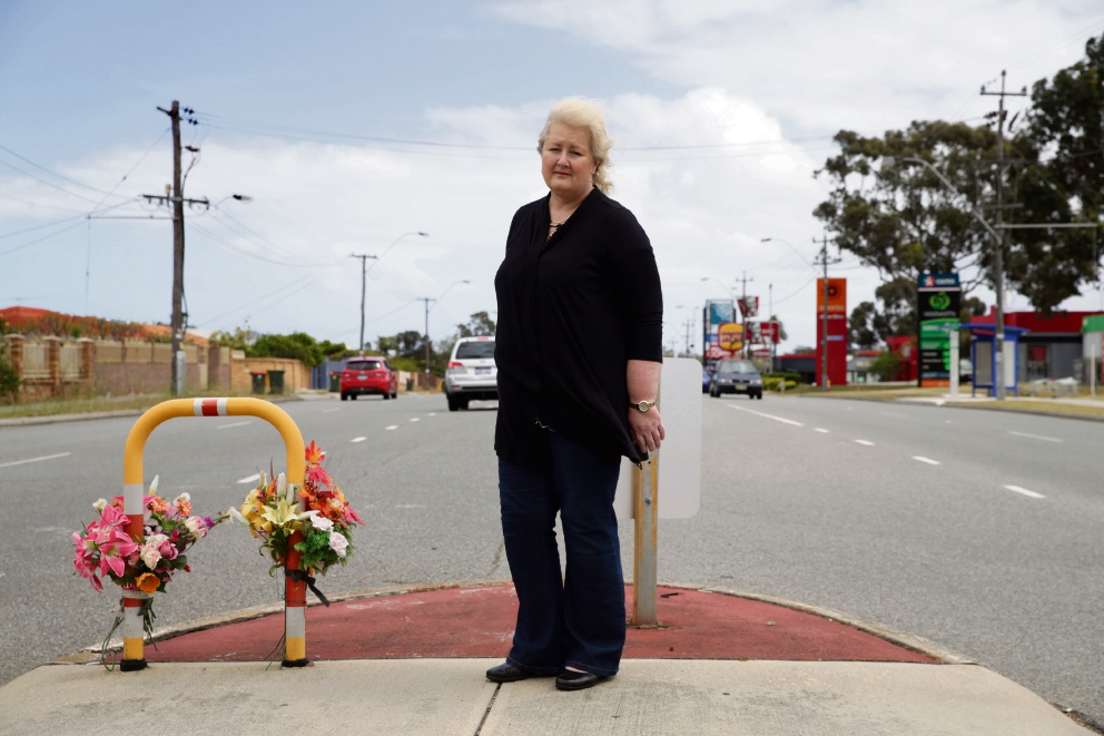 Dianella resident Leanne McShane on Yirrigan Drive where she wants to see a formal pedestrian crossing.Picture: Martin Kennealey www.communitypix.com.au   d475592