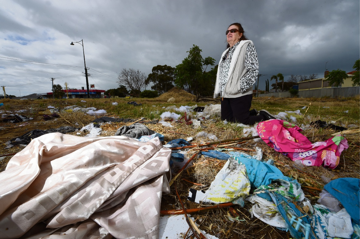 Barbara Briscoe is tired of rubbish being dumped on empty blocks. Picture: Jon Hewson d475419