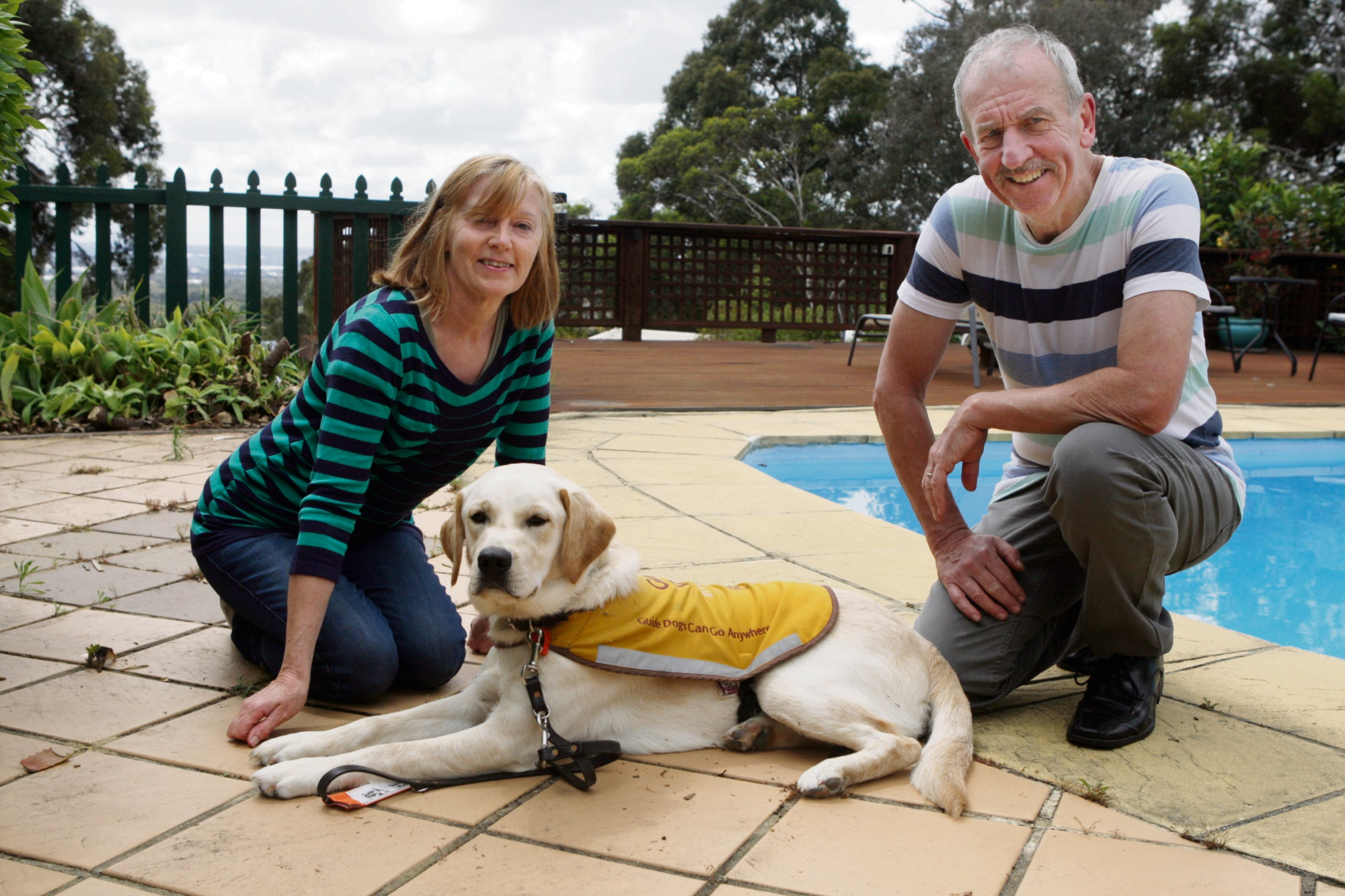 Karen and Dave Hobson with guide-dog-in-training Alfie. Picture: Bruce Hunt d475230