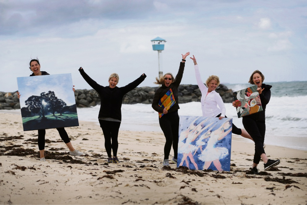 Artists Mia Laing, Gail Dell, Myra Staffa, Jan Brown and Jan Mellor at City Beach ahead of their latest exhibition. Picture: Andrew Ritchie www.communitypix.com.au   d475526