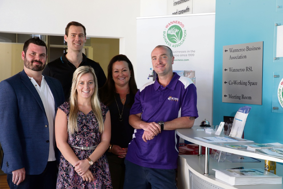 Tom Young (U-Drew), Lauren McGee (Wanneroo Business Association), Joshua Letcher (Windturbine) and Kylie Cook and Aaron Baker from King Bins Waste Management. Picture: Martin Kennealey d475689