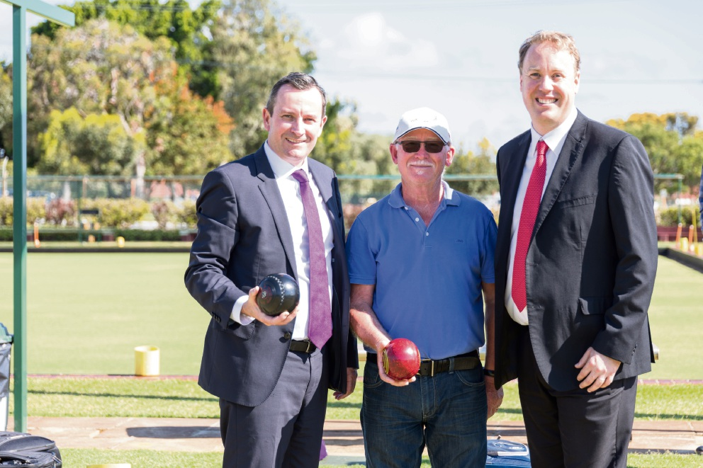 Premier Mark McGowan and Balcatta MLA David Michael with Osborne Park Bowling Club member Jim Dimitriou.